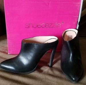 Black leather mule stiletto